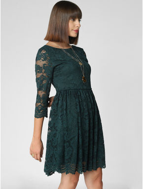 Pine Green Lace Fit & Flare Dress