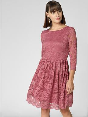 Dark Pink Lace Fit & Flare Dress
