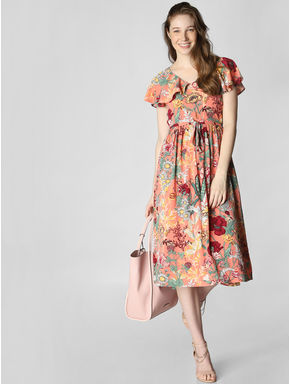 Coral Floral Print Fit & Flare Dress