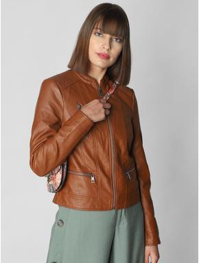 Brown Casual PU Jacket
