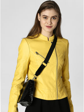 Yellow PU Casual Jacket