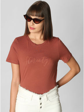 Brown Stereotype Text Print T-shirt