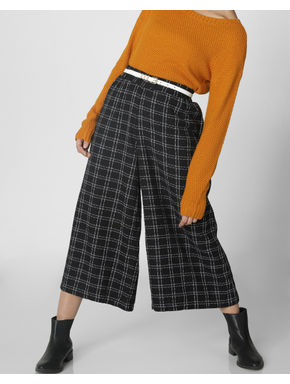 Navy Blue Mid Rise Check Culottes