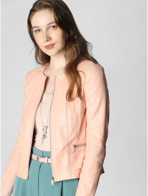 Peach Zip Up Casual Jacket