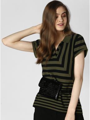 Green Striped Polo T-shirt
