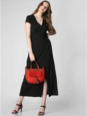 Black Front Slit Midi Dress