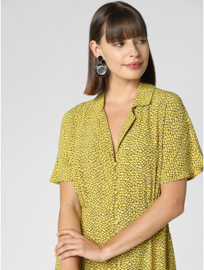 Yellow Printed Fit & Flare Dress