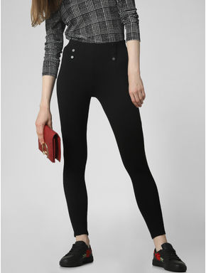 Black High Rise Button Detail Leggings