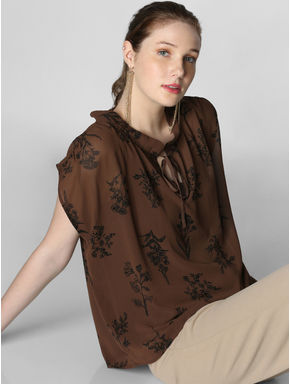 Dark Brown All Over Print Top