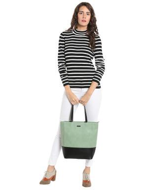 Black & White Striped High Neck Sweater