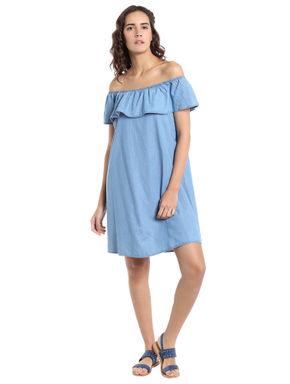 Chambray Frill Off Shoulder Dress