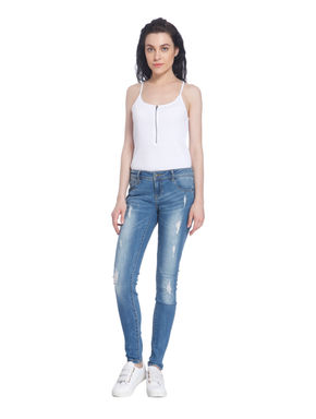 Distressed Super Slim Blue Jeans