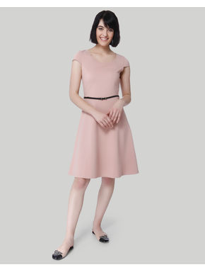 Salmon Pink Fit & Flare Dress