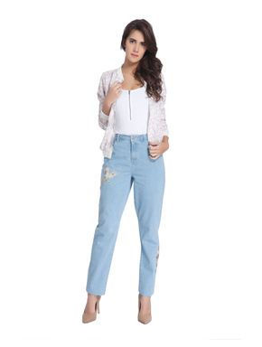Light Blue Jeans with Bird Embroidery