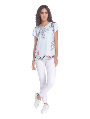 Blue Floral and Fauna Print Top
