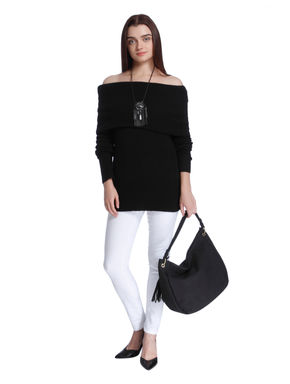 Black Overlap Off Shoulder Sweater