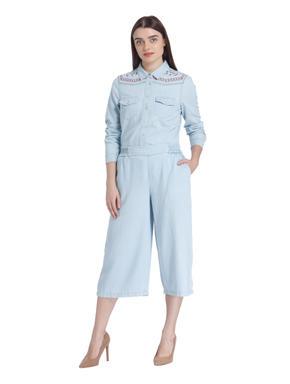 Light Blue Denim Culottes Pants