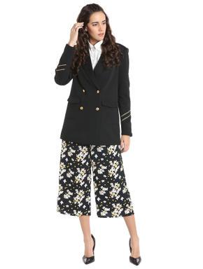 Black Floral Print Culottes