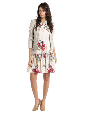 Off White Floral Peplum Mini Dress