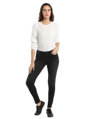 Black Cutline Skinny Jeans