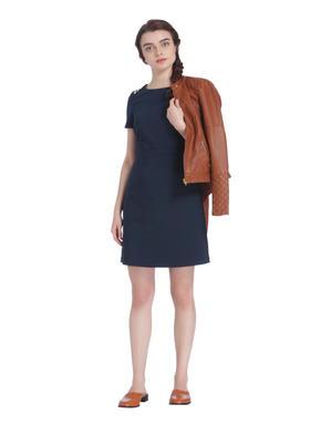 Blue Button Detail Mini Dress