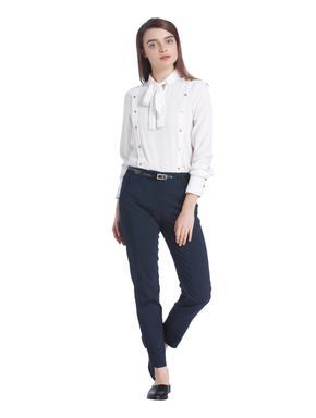 Blue Ankle Length Slim Fit Pants