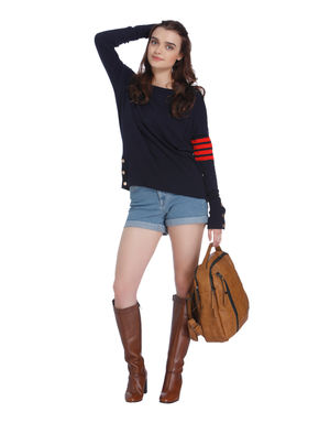 Dark Blue and Red Boatneck Sweatshirt