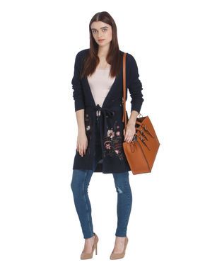 Dark Blue Floral Embroidered Long Cardigan