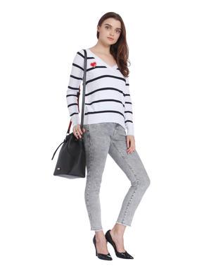 White Striped V-Neck Sweater