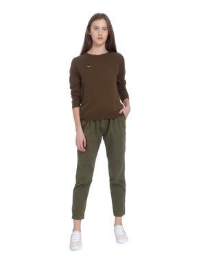 Brown Badge Detail Sweater