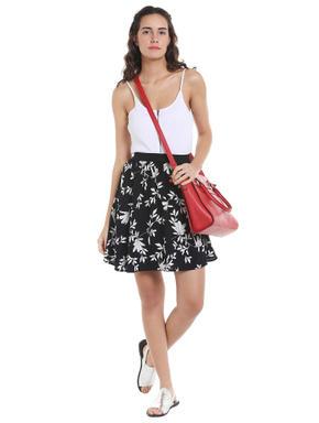 Black & White Floral Mini Skirt