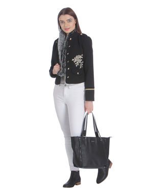 Black Embroidered Short Jacket