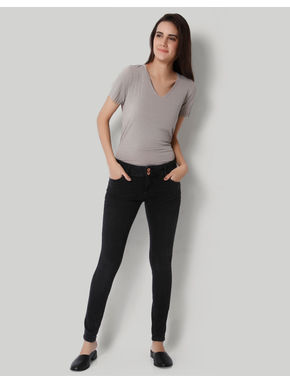 Dark Grey Low Waist Slim Fit Jeans
