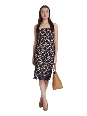 Dark Blue Lace Bodycon Dress