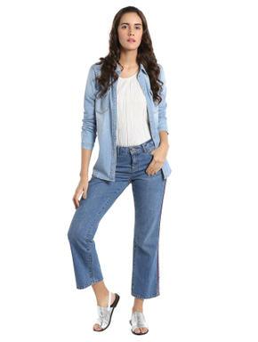 Blue Wide Leg Cropped Jeans