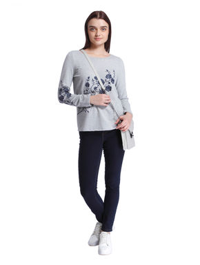 Light Grey Floral Embroidered Sweater