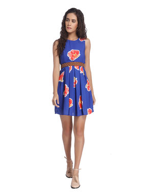 Blue Printed Skater Dresses