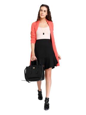 Black High Waisted Flared Mini Skirt