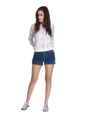 Blue Mid Rise Embroidered Shorts