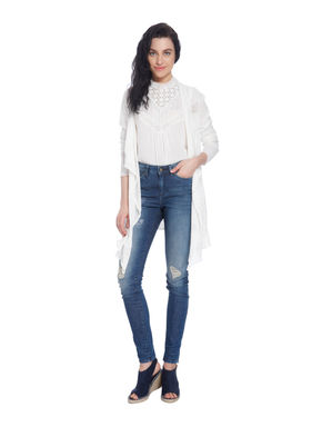 Dark Blue Butterfly Embroidered Skinny Jeans