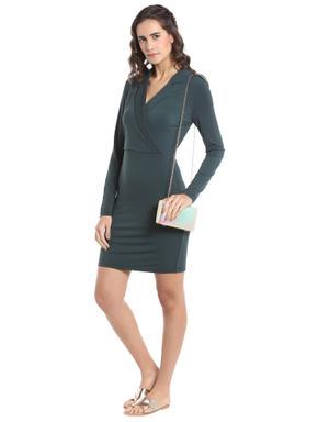 Green Collared Bodycon Dress