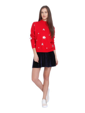 Red Star Print High Neck Sweater