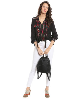 Black Floral Embroidered Tie Neck Top