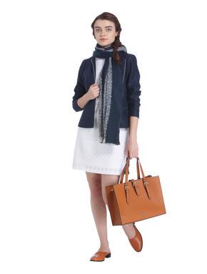 Dark Blue Front Zip Blazer