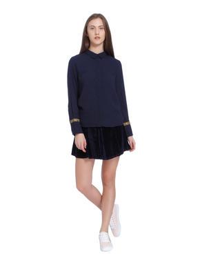 Dark Blue Embellished Sleeves Shirt