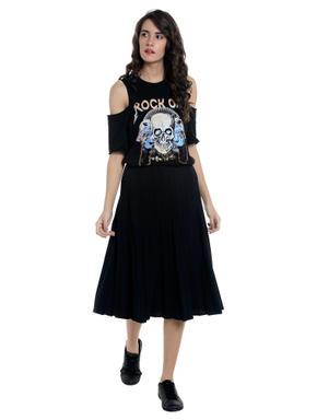Black Skull Print Cold Shoulder Top