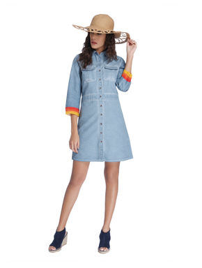 Chambray Shirt Dress with Coloured Cuffs