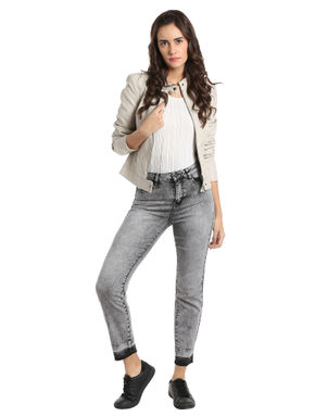 Grey High Waisted Ankle Length Slim Jeans