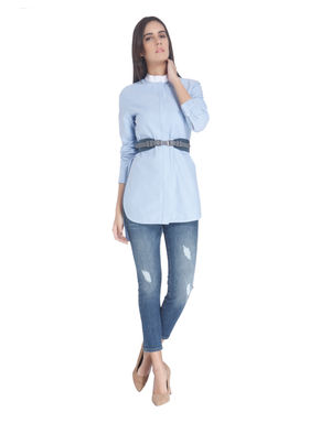 White High Low Shirt with Piping