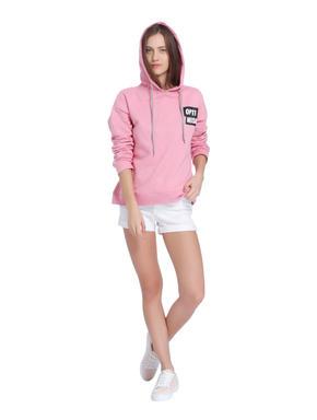 Pink Slogan Print Hoodie Sweatshirt